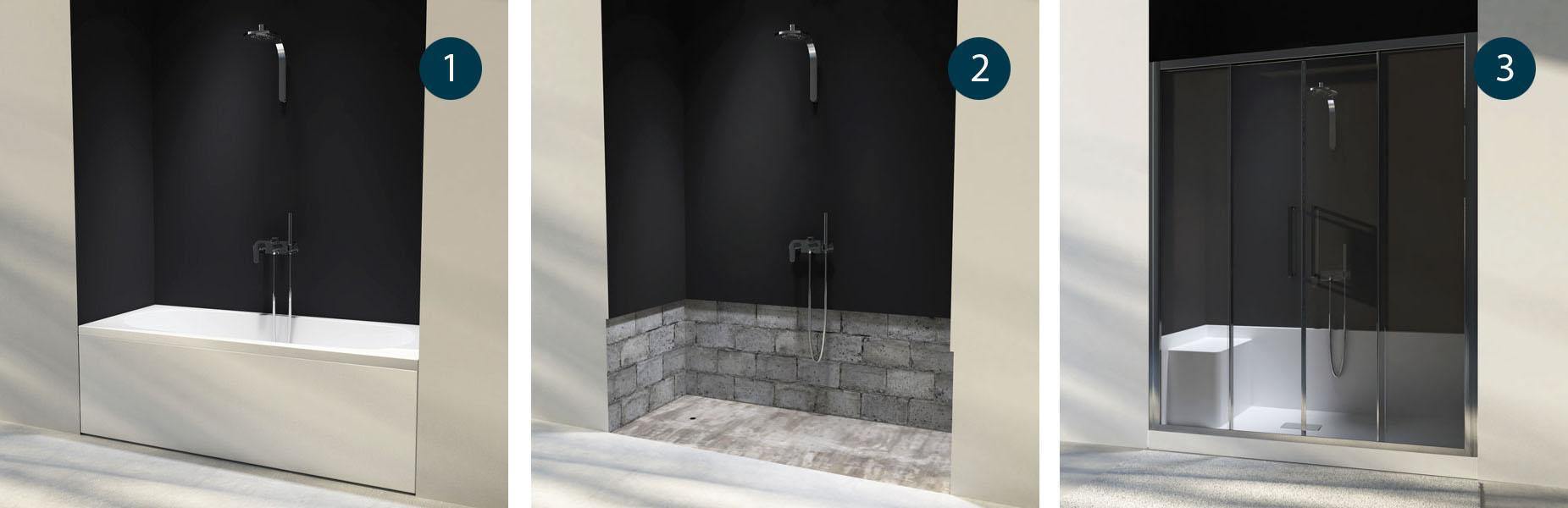 Docce per anziani e disabili sostituzione vasca in doccia - Sostituzione vasca da bagno con doccia prezzi ...